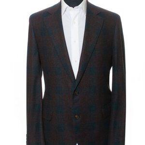Brunello Cucinelli Check Silk Cashmere Blazer 44R